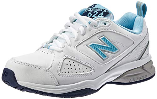 New Balance WX624WB4, Women'S Multisport Indoor Shoes, White (White/Blue), 7 UK (40 1/2 EU)