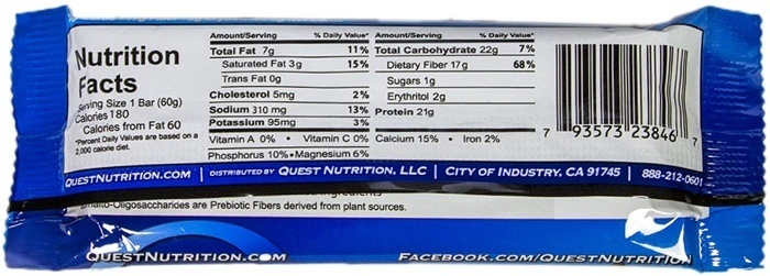 protein bar nutritional information